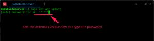 如何在终端输入密码时显示星号