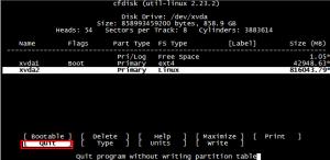 Linux centos7 终端下使用cfdisk创建新的文件系统分区