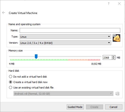 VirtualBox中安装 Andriod系统