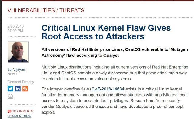 Linux爆出严重内核漏洞,可为攻击者提供Root访问权限