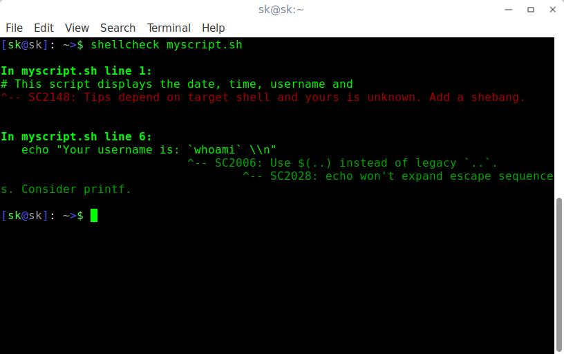 使用ShellCheck查找Shell脚本中的错误
